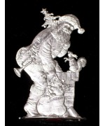 Wilhelm Schweizer Unpainted Pewter Anno 1988 Down the Chimney with Ol' St. Nick