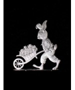Wilhelm Schweizer Unpainted Pewter Bunny with Wheelbarrow