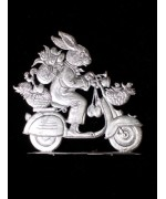 Wilhelm Schweizer Unpainted Pewter Anno 2003 Bunny with Scooter