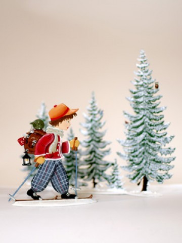 Boy Skiing Set Christmas Pewter Wilhelm Schweizer