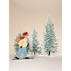 Girl Skiing Set Christmas Pewter Wilhelm Schweizer