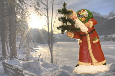 Ino Schaller Paper Machee Santa 'Large oldred with Tree'