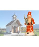 TEMPORARILY OUT OF STOCK Ino Schaller Paper Machee Santa  'with snow Tree'