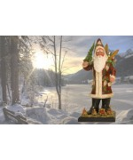 TEMPORARILY OUT OF STOCK - Ino Schaller Paper Machee Santa with Ski and Tree