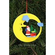 Christian Ulbricht German Ornament Santa with Sled in Moon - TEMPORARILY OUT OF STOCK