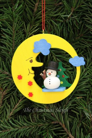 Christian Ulbricht German Ornament Snowman in Moon - TEMPORARILY OUT OF STOCK
