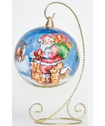 Mouth Blown Glass Ornament 'Santa going down the Chimney'