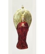 Mouth Blown Glass Ornament 'Red Angel'