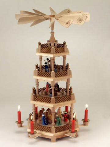 TEMPORARILY OUT OF STOCK <BR><BR> Tall Stained with Painted Figurines German Pyramid