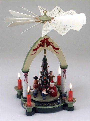 TEMPORARILY OUT OF STOCK <BR><BR> Beautifully Painted Santa with  Children and Toys Pyramid Made in Ger