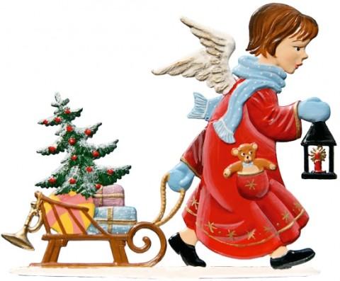 Angel Pulling Sleigh Anno 1993 Christmas Pewter Wilhelm Schweizer