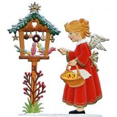 Angel Feeding Birds Anno 1996 Christmas Pewter Wilhelm Schwei