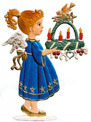 Angel with Advent Wreath Anno 2000 Christmas Pewter Wilhelm Schweitzer