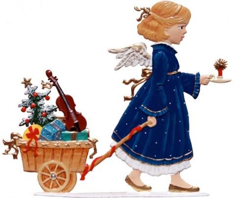 Angel mit Geschenkekarren Anno 2008 Chrismtas Pewter Wilhelm Schweizer