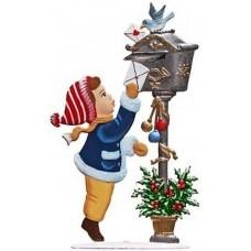 Girl and Mailbox Christmas Pewter Wilhelm Schweizer