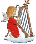 Angel Playing Harp Christmas Pewter Wilhelm Schweizer
