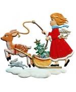 Girl with Reindeer 2006 Christmas Pewter Wilhelm Schweizer