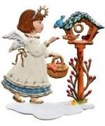 Girl and Birdhouse Christmas Pewter Wilhelm Schweizer