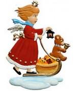 Angel Pushing Cart with Teddy Christmas Pewter Wilhelm Schweizer