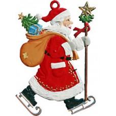 Santa Skating Christmas Pewter Wilhelm Schweizer
