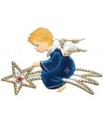 Angel riding a Star Christmas Pewter Wilhelm Schweizer