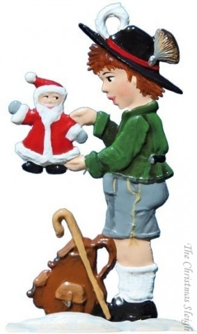 TEMPORARILY OUT OF STOCK - Bavarian Boy with Santa Christmas Pewter Wilhelm Schweizer