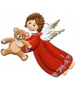 Angel holding a teddy Christmas Pewter Wilhelm Schweizer