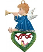 Angel Playing Horn on Heart Christmas Pewter Wilhelm Schweizer