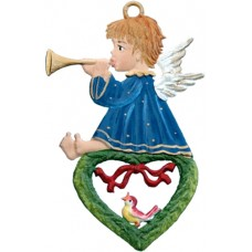 Angel Playing Horn on Heart Christmas Pewter Wilhelm Schweizer