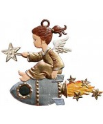 TEMPORARILY OUT OF STOCK - Angel on a Rocket Christmas Pewter Wilhelm Schweizer