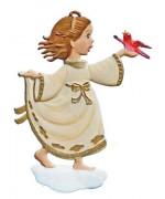 Angel with Bird Christmas Pewter Wilhelm Schweizer