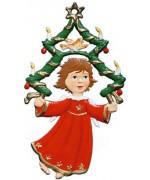 Angel with Tree Christmas Pewter Wilhelm Schweizer