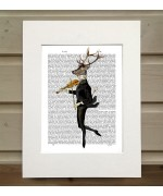 Dancing Deer with Violin FabFunky Book Print