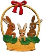 Wilhelm Schweizer Easter Oster Pewter Basket of Bunnies
