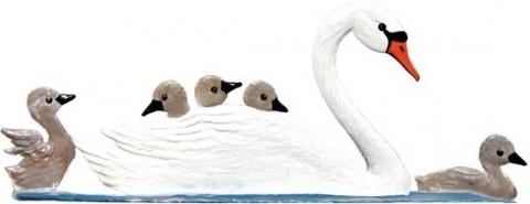 Swan Family Standing Pewter Wilhelm Schweizer