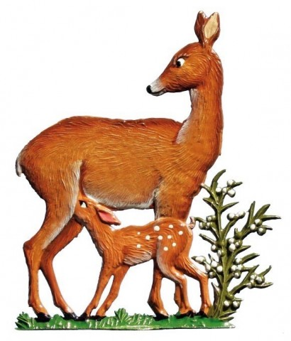 Deer Mother with Fawn Standing Pewter Wilhelm Schweizer