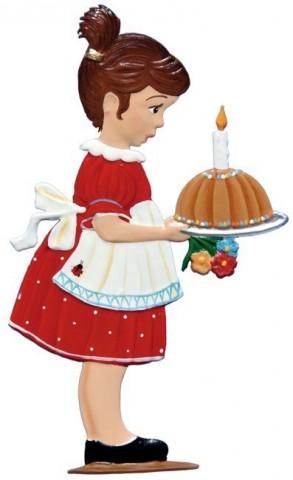 Birthday Cake Girl Standing Pewter Wilhelm Schweizer