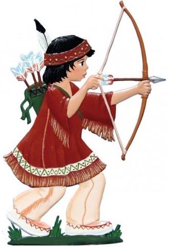 American Indian Boy Standing Pewter Wilhelm Schweizer