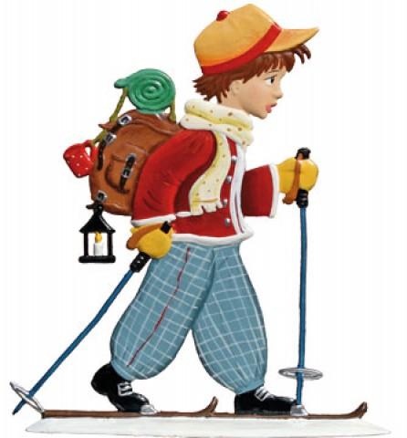 Boy Skiing Christmas Pewter Wilhelm Schweizer