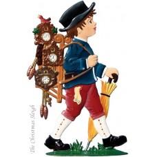 Black Forest The Little Clock Man Standing Pewter Wilhelm Schweizer