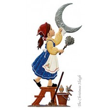 Girl Cleaning the Moon Standing Pewter Wilhelm Schweizer
