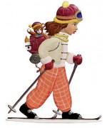 Girl Skiing Christmas Pewter Wilhelm Schweizer