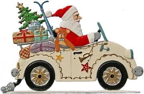 Wilhelm Schweizer Christmas Pewter Anno 1991 Santa in Roadster