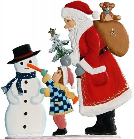 TEMPORARILY OUT OF STOCK - Santa Child Snowman Anno 1998 Christmas Pewter Wilhelm Schweizer