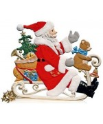 Santa with Teddy on Sleigh Anno 2001 Christmas Pewter Wilhelm Schweizer