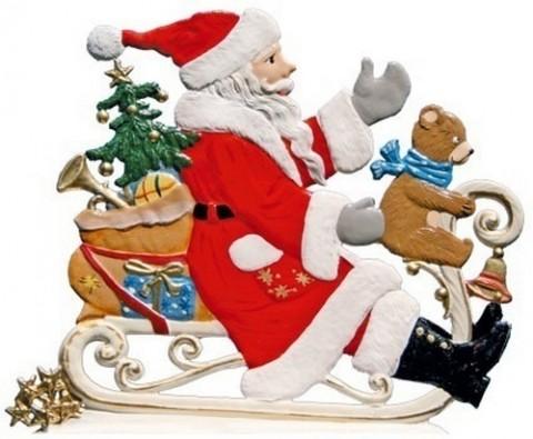 Santa with Teddy on Sleigh Anno 2001 Christmas Pewter Wilhelm Schweizer