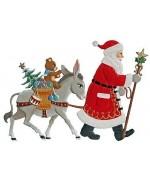 Santa with Donkey Anno 2003 Christmas Pewter Wilhelm Schweizer