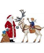 Santa with Reindeer Anno 2004 Christmas Pewter Wilhelm Schweizer