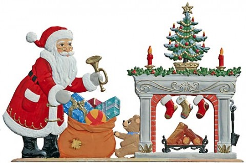 Santa and Fireplace Anno 2006 Christmas Pewter Wilhelm Schweizer