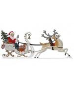Reindeer Pulling Santa Christmas Pewter Wilhelm Schweizer